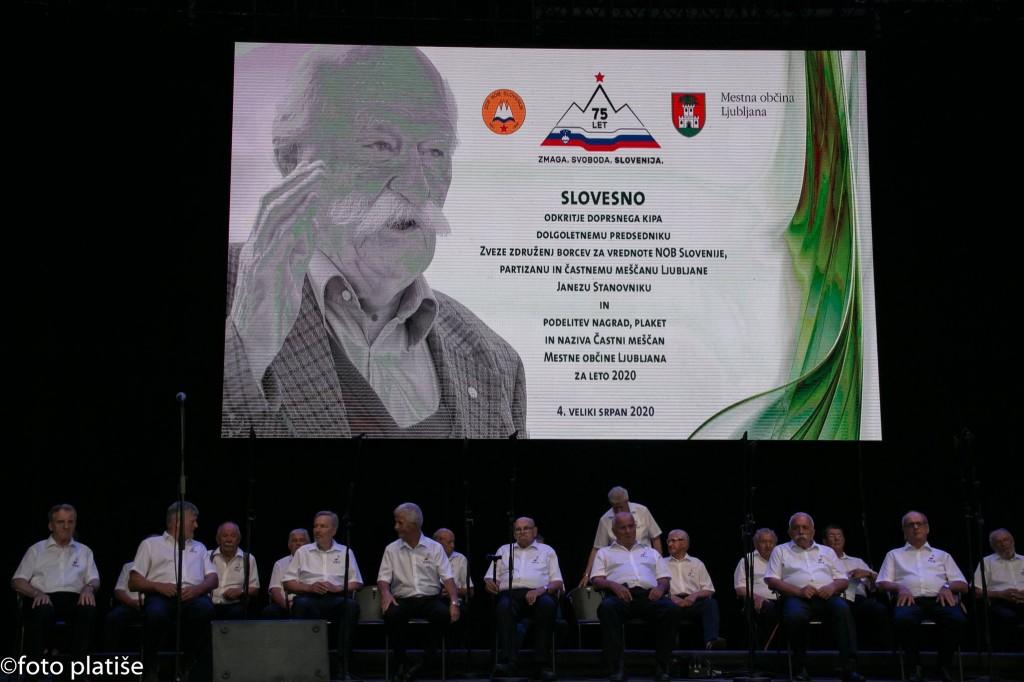 Slovesnost ob odkritju doprsnega kipa Janeza Stanovnika in počastitev prejemnikov priznanj Ljubljane za leto 2020